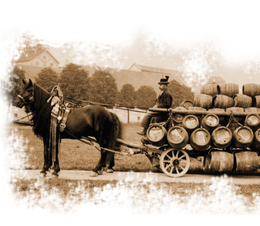 Pferdekutsche mit Holzfässern aus dem siebzehnten Jahrundert